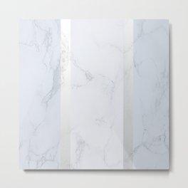 Marble Silver Metal Print