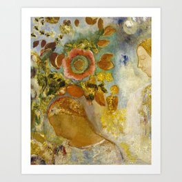 Two Young Girls Among Flowers by Odilon Redon Art Print