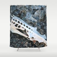 skeleton Shower Curtains featuring Skeleton by Alex Dodds