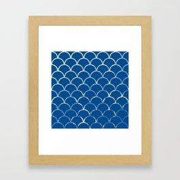 Textured large scallop pattern in snorkel blue Framed Art Print