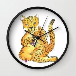 jaguar painting nails transparent Wall Clock