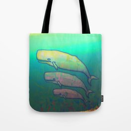 Whales Swimming Together Tote Bag