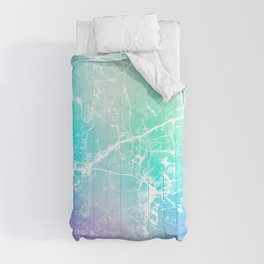 Modern turquoise purple watercolor abstract marble Comforters