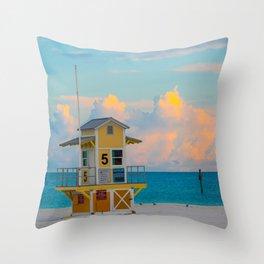 Beach Sunrise Lifeguard Hut Tall Print Throw Pillow