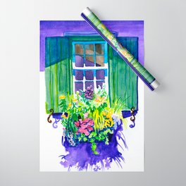 Window-box Watercolor Wrapping Paper
