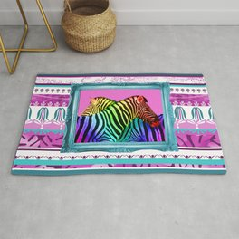 rainbow zebras in turquoise frame pattern pink background Rug