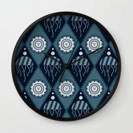 Jellyfish in the blue undersea world Wall Clock