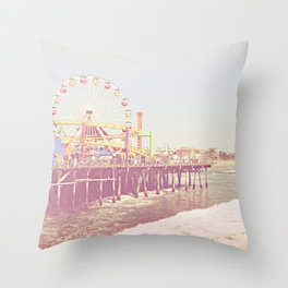 Santa Monica Pier Vintage Throw Pillow