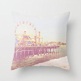 Santa Monica Pier Vintage Throw Pillow