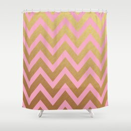 pink and gold chevron Shower Curtain