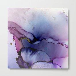 color flow purple blue magenta gold Metal Print