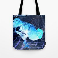 cock Tote Bags featuring cock animal by habish