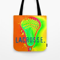 lacrosse Tote Bags featuring LACROSSE. ORANGE by TMCdesigns