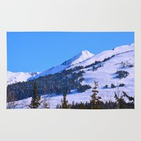 skiing Area & Throw Rugs featuring Back-Country Skiing  - IV by Alaskan Momma Bear