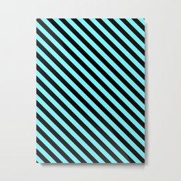 Electric Blue and Black Diagonal LTR Stripes Metal Print