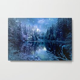 A Cold Winter's Night : Turquoise Teal Blue Winter Wonderland Metal Print