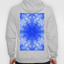 Fractal lace mandala in blue and white Hoody