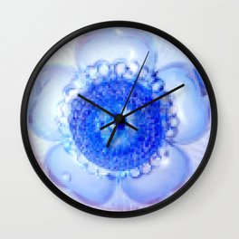 Flower | Flowers | Blue Boho Flower Pixelate | Nadia Bonello Wall Clock