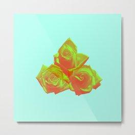 Neon Rose - Triplet - Aquamarine Metal Print