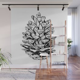 Pine cone illustration Wall Mural