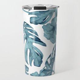 Teal Blue Tropical Palm Leaves Flowers Travel Mug
