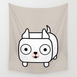 Pitbull Loaf - White Pit Bull with Cropped Ears Wall Tapestry