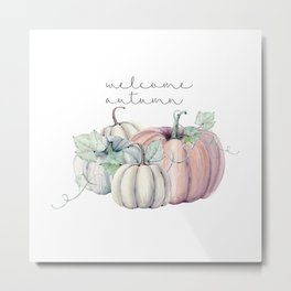 welcome autumn orange pumpkin Metal Print
