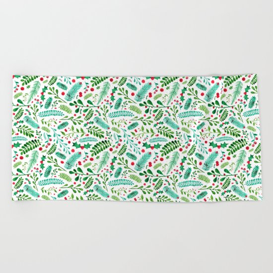 Christmas Florals Beach Towel