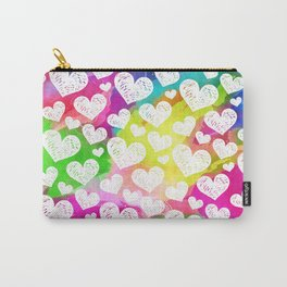 Rainbow Watercolor Hearts Carry-All Pouch