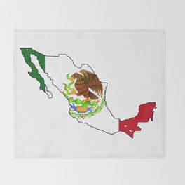 Mexico Map with Mexican Flag Throw Blanket