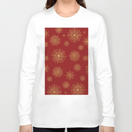 Assorted Golden Snowflakes Long Sleeve T-shirt