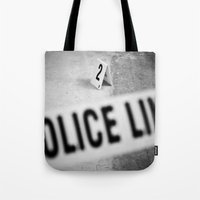 police Tote Bags featuring Police Line by GF Fine Art Photography