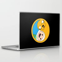finn and jake Laptop & iPad Skins featuring Finn & Jake Yin Yang by bitobots