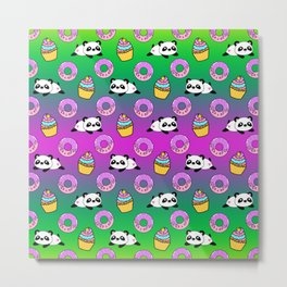 Cute funny Kawaii chibi little playful baby panda bears, happy sweet pink donuts and adorable yummy cupcakes green pattern design. Nursery decor. Metal Print