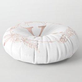 Letter K Rose Gold Pink Initial Monogram Floor Pillow