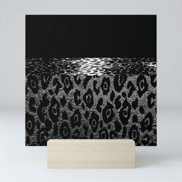 ANIMAL PRINT CHEETAH LEOPARD BLACK WHITE AND SILVERY GRAY Mini Art Print