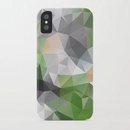 Grey green polygonal pattern iPhone Case