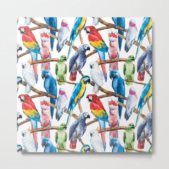 Parrot Pattern 02 Metal Print
