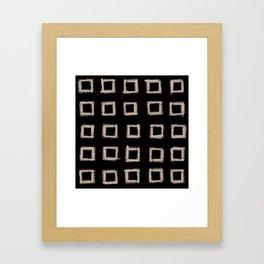 Square Stroke Dots Nude on Black Framed Art Print