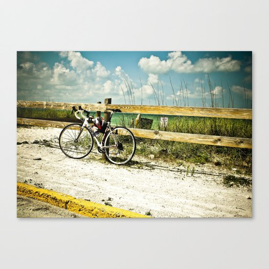Bicycle on Beach Canvas Print