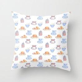 British Cream Tea Pattern Throw Pillow