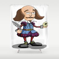 shakespeare Shower Curtains featuring William Shakespeare by Graziano Ventroni