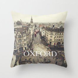 Red buses at Oxford Throw Pillow