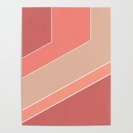Terracotta , beige , abstract Poster