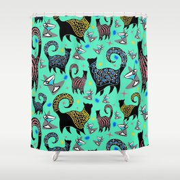 Blue Snobby Cocktail Cats Shower Curtain
