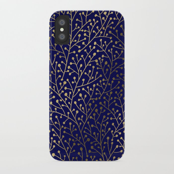 Gold Berry Branches on Navy iPhone Case