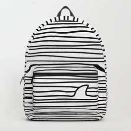 Minimal Line Drawing Simple Unique Shark Fin Gift Backpack