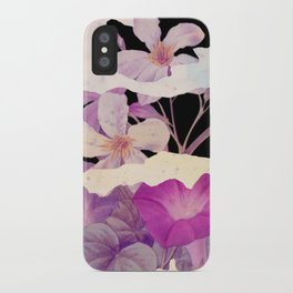 floral on torn paper iPhone Case