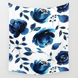 Blue Flowers Wall Tapestry