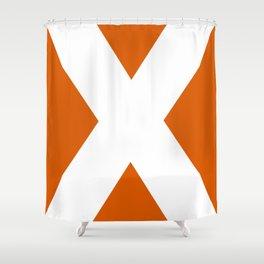 Sans Serif X. White on Red Orange. Shower Curtain